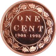 1 cent Monnaie royale canadienne (90 ans, fini miroir) – revers