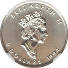 2 dollars Elizabeth II (Feuille d'érable, 1/15 oz investissement) – avers
