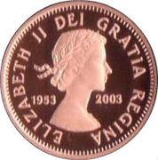1 cent Première effigie de Elizabeth II – avers