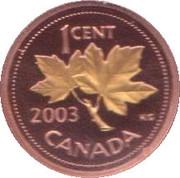 1 cent Elizabeth II (3ème effigie, Feuille plaquée d'or) – revers