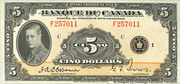 5 Dollars (Français) – avers