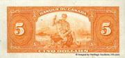 5 Dollars (Français) – revers