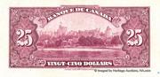 25 Dollars (Roi George V - Français) – revers