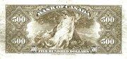 500 Dollars (Anglais) – revers