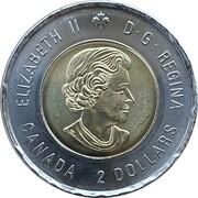 2 dollars Elizabeth II (Bill Reid, non colorisée) -  avers