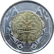2 dollars Elizabeth II (Bill Reid, non colorisée) -  revers