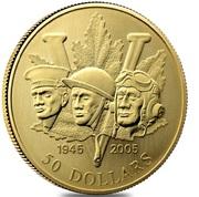 2005 50 Dollar 14-Karat Gold 60th Ann. of the End of 2nd World War – revers