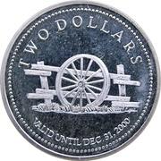 2 Dollars - Fisher Branch, Manitoba -  revers