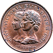 Medal - Confederation Centennial - Victoria & Elizabeth II (Bronze) – avers