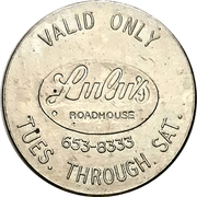 Admit One Person Token - Lulu's Roadhouse (Kitchener, Ontario) – revers