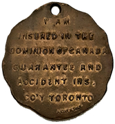 Token - Dominion of Canada Guarantee and Accident Insurance Co. – revers