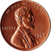 """Sudbury """"Numismatic Park"""" Promotional Medallion - United States, 1 cent, 1965 – avers"""