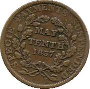 "1837 Hard Times Token ""May Tenth"" (Phoenix Variety) – revers"