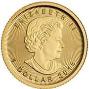 1 dollar Elizabeth II (Feuille d'érable, 1/20 oz investissement) -  avers