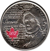 25 cents Laura Secord (colorée) -  revers