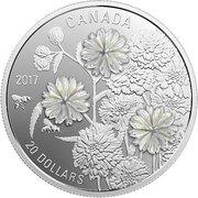 20 dollars Elizabeth II Fleurs nacrées – revers