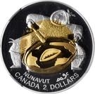 2 dollars Elizabeth II (Nunavut; argent et or) – revers