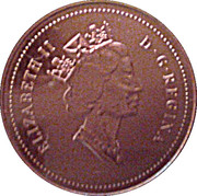 1 cent Elizabeth II (3e effigie, bronze) – avers