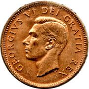 """1 cent Georges VI (sans """"ET IND: IMP:"""") – avers"""