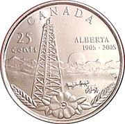 25 cents Centenaire de l'Alberta -  revers