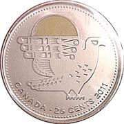 25 cents Faucon pèlerin (colorée) -  revers
