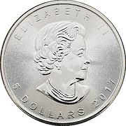 5 dollars Elizabeth II (Feuille d'érable, 1 oz investissement) -  avers