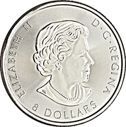 8 Dollars - Elizabeth II (Bald Eagle; 1.25 oz Silver Bullion Coinage) – avers