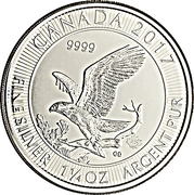 8 Dollars - Elizabeth II (Bald Eagle; 1.25 oz Silver Bullion Coinage) – revers
