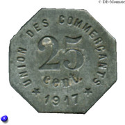 25 Centimes - Union des Commerçants- Castelnaudary [11] – revers