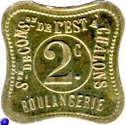 2 centimes - Sté de consommation de l'Est, Boulangerie -Chalons [51] – revers