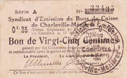 25 centimes - Syndicat d'Emission fr Bons de Caisse de Charleville-mizières – avers