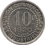 10 Centimes - Union commerciale et industrielle - Charlieu [42] -  revers
