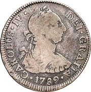 2 Reales - Carlos IV, bust of Carlos III (Colonial Milled Coinage) – avers