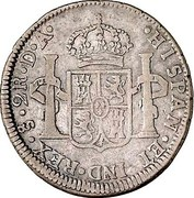 2 Reales - Carlos IV, bust of Carlos III (Colonial Milled Coinage) – revers