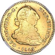 2 Escudos - Carlos IIII (bust of Carlos III) – avers