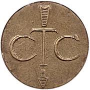 Jeton de téléphone - CTC (flèche vers en bas; trident; laiton grand module) – avers