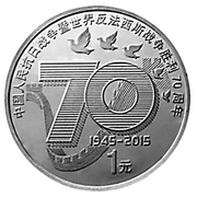 1 Yuan  (70th Anniversary of the Victory in WWII) – revers