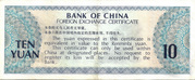 10 Yuan Foreign Exchange Certificate – revers