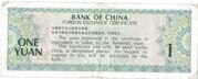 1 Yuan Foreign Exchange Certificate – revers
