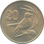 20 cents (numéro de valeur encadré) – revers