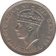 """2 shillings Georges VI (avec """"IND. IMP."""") – avers"""