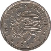 """2 shillings Georges VI (avec """"IND. IMP."""") – revers"""