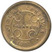 5 centavos (monnaie de léproserie) – revers