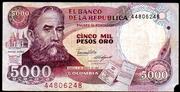 5000 Pesos Oro – avers