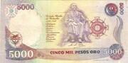 5000 pesos oro – revers