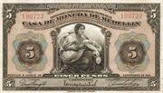 5 Pesos (Overprint) – avers