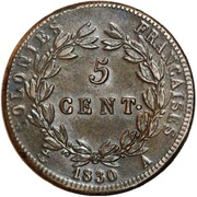 5 centimes - Charles X – revers