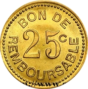 25 Centimes (Société Anonyme Token Coinage; Brass) – revers