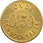 50 Centimes (Société Anonyme Token Coinage; Brass) – revers