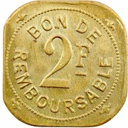 2 Francs (Société Anonyme Token Coinage; brass) – revers